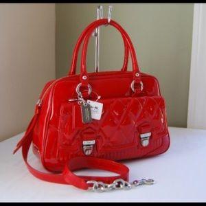 Coach Cherry Red / Crimson Patent Satchel Bag